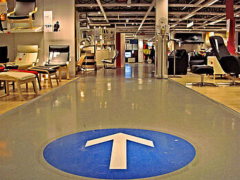 B2B Lead Nurturing IKEA Example Floor Arrows